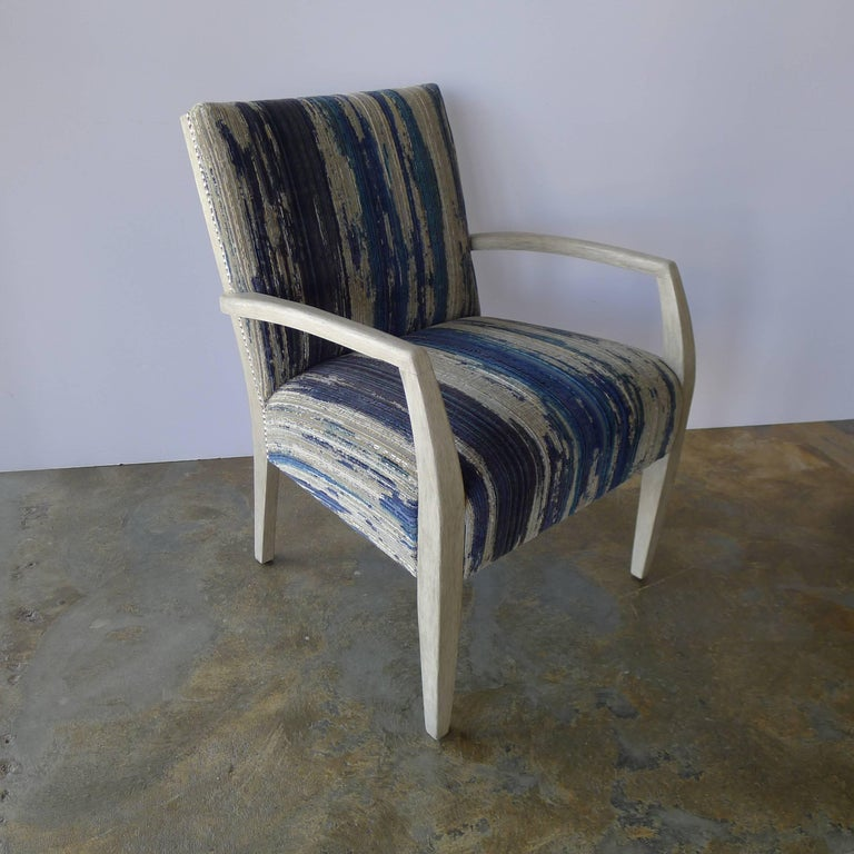 Totally restored early Mid-Century occasional, lounge chair with new Pollack upholstery, satin nickel nailheads and light distressed gray finish. Comfortable and of good design.