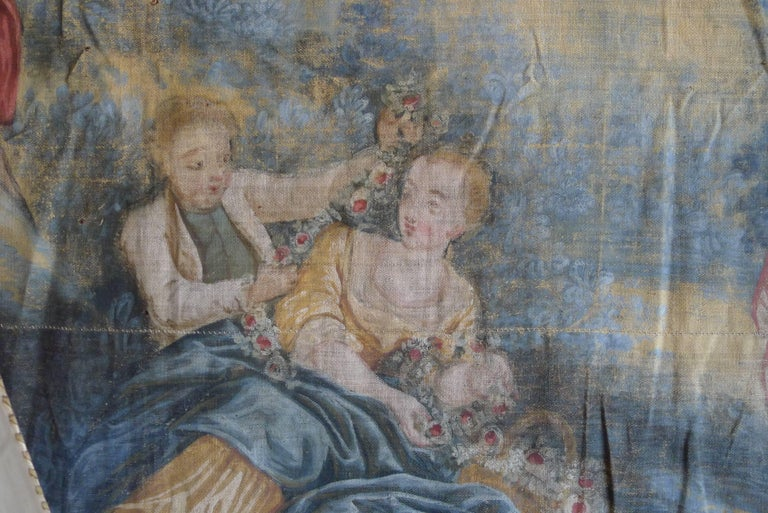 Oiled Large Tapestry Style 19th Century Rococo Wall Hanging For Sale