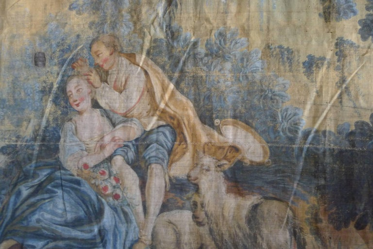 Large Tapestry Style 19th Century Rococo Wall Hanging In Fair Condition For Sale In Los Angeles, CA