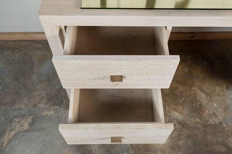 Modern Desk in Bleached Oak with Brass For Sale 1