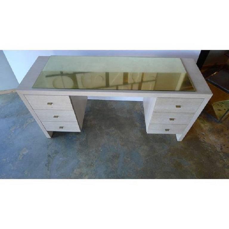 Modern Desk in Bleached Oak with Brass For Sale 2