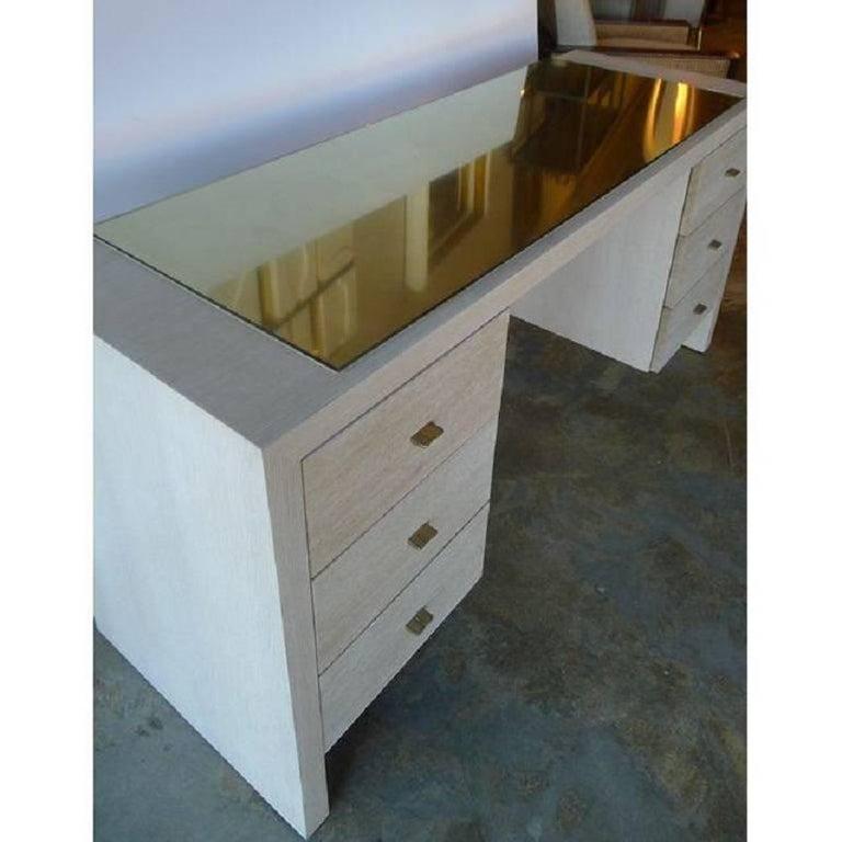 Modern Desk in Bleached Oak with Brass For Sale 3