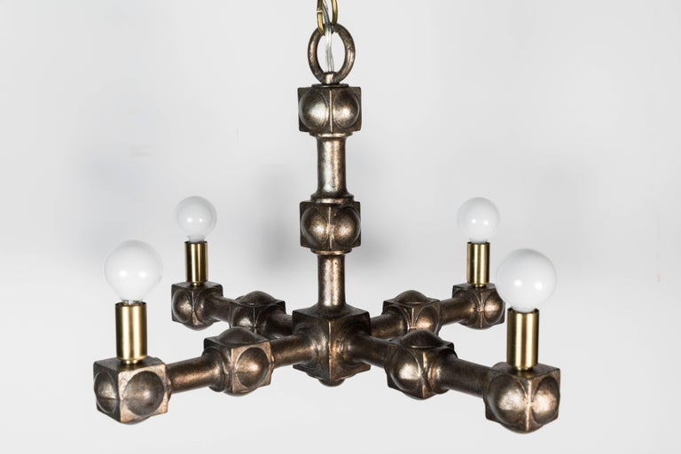Midcentury 1970s Chandelier Restored In Excellent Condition For Sale In Los Angeles, CA