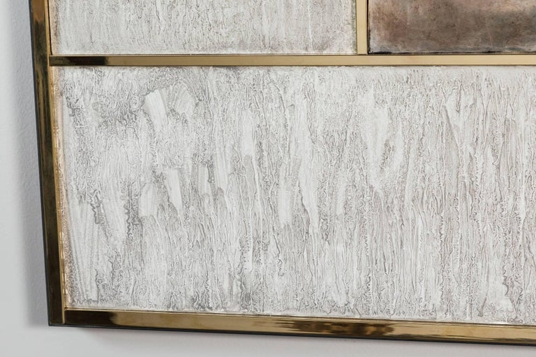 Modern Art Wall Panel by Paul Marra in Brass, Distressed Silver Leaf, Textured Finish For Sale