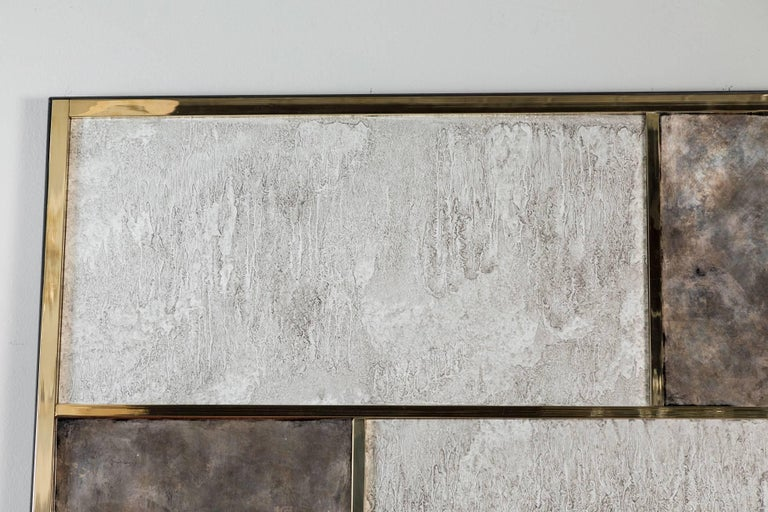 American Art Wall Panel by Paul Marra in Brass, Distressed Silver Leaf, Textured Finish For Sale