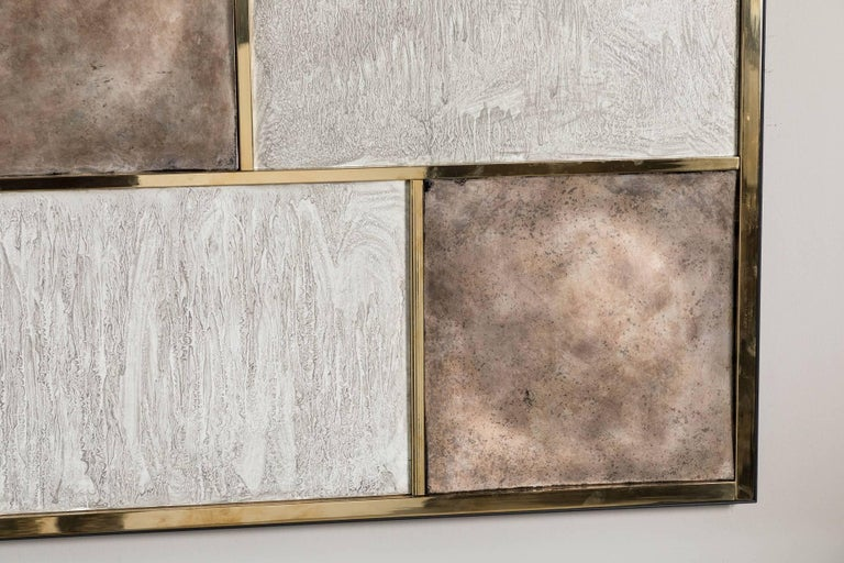 Contemporary Art Wall Panel by Paul Marra in Brass, Distressed Silver Leaf, Textured Finish For Sale