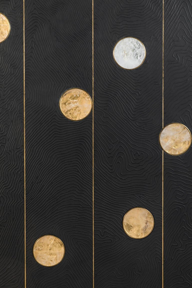 Art wall panel by Paul Marra with textured pattern, hand-cut rock crystal, brass. Unsigned as issued. The texture is a hand-applied faux bois pattern over wood and metal. Also view the close-up images. (Note outer dimensions with rock crystal at
