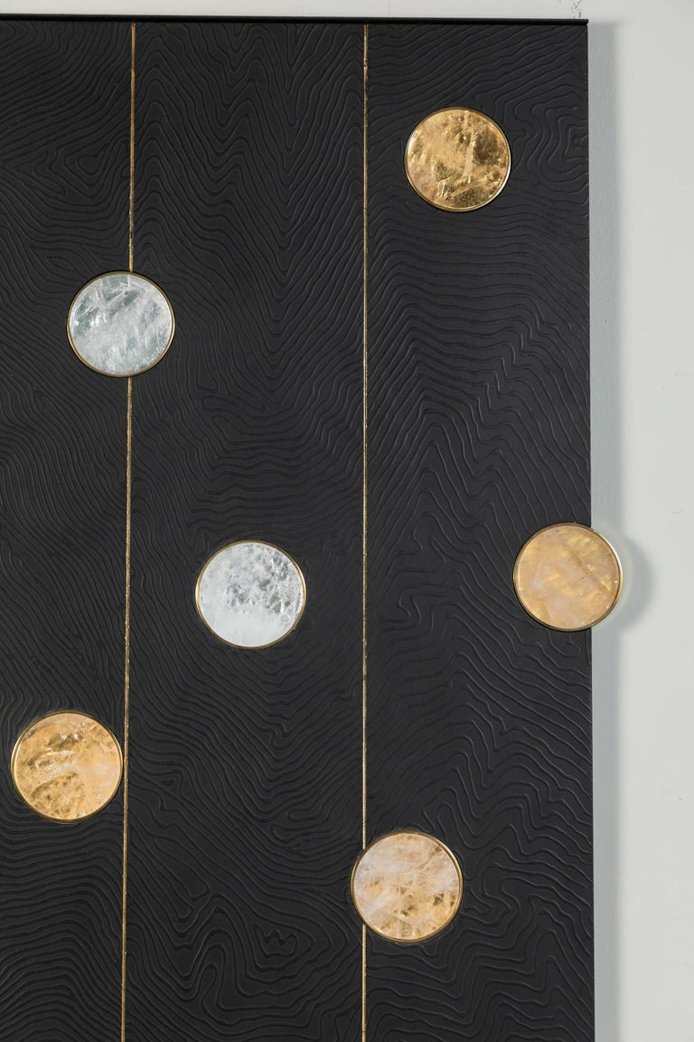 Modern Art Wall Panel by Paul Marra with Texture, Brass, Hand-Cut Rock Crystal For Sale