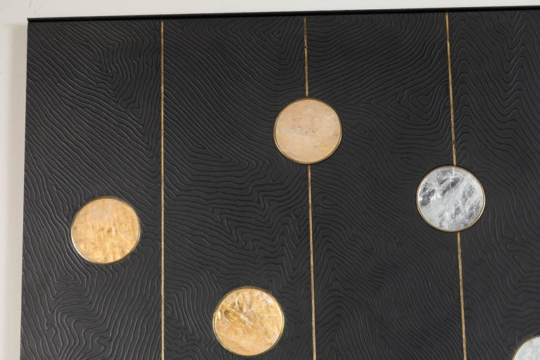 American Art Wall Panel by Paul Marra with Texture, Brass, Hand-Cut Rock Crystal For Sale