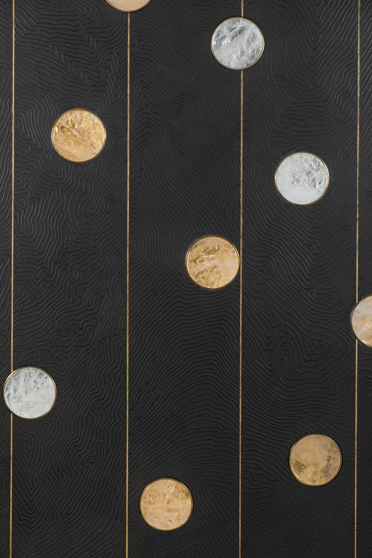Hand-Carved Art Wall Panel by Paul Marra with Texture, Brass, Hand-Cut Rock Crystal For Sale