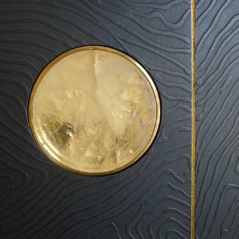 Art Wall Panel by Paul Marra with Texture, Brass, Hand-Cut Rock Crystal In Excellent Condition For Sale In Los Angeles, CA