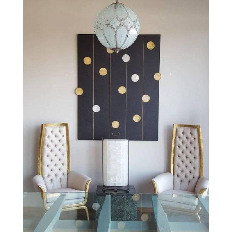 Art Wall Panel by Paul Marra with Texture, Brass, Hand-Cut Rock Crystal For Sale 1