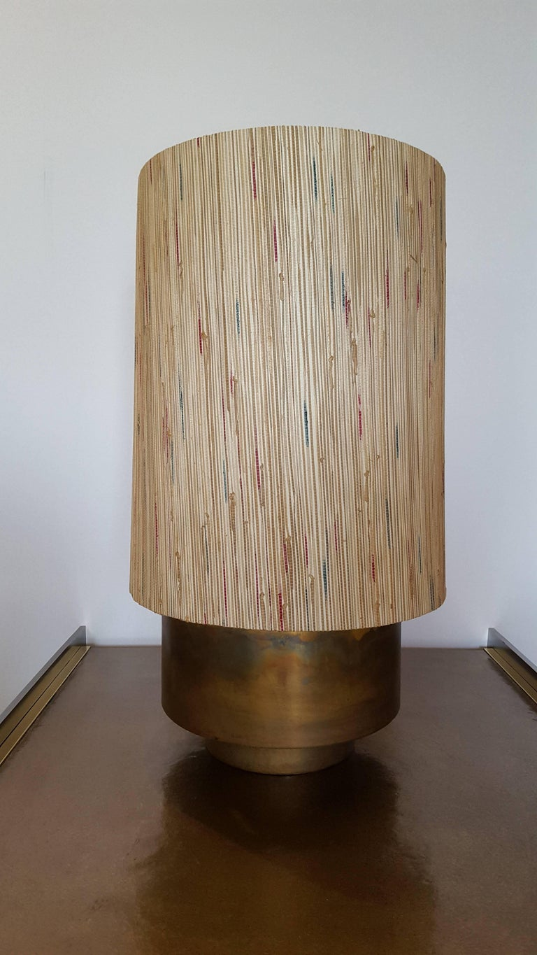 Modern Brass Table Lamp with Custom Grasscloth Shade by Paul Marra 4