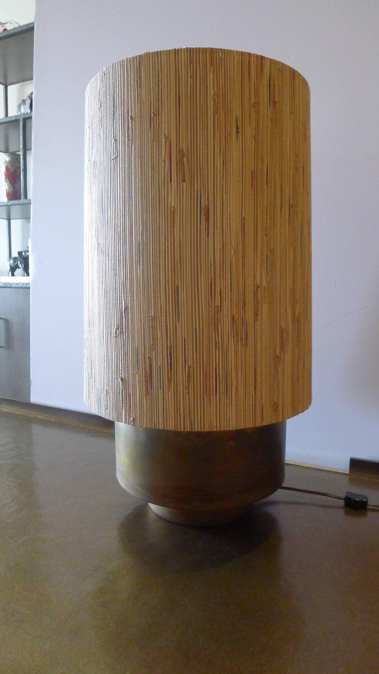 Modern Brass Table Lamp with Custom Grasscloth Shade by Paul Marra 6