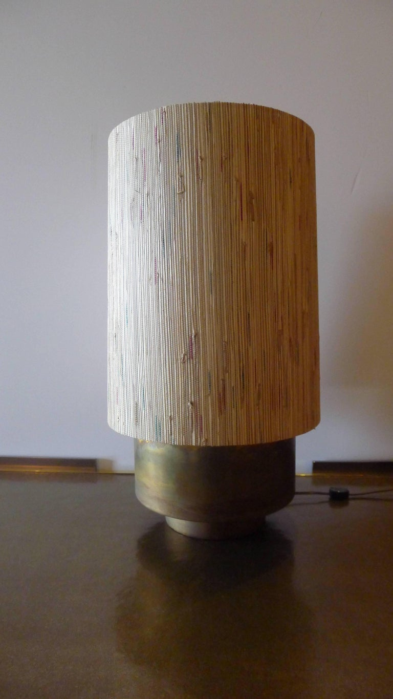 Modern Brass Table Lamp with Custom Grasscloth Shade by Paul Marra 5