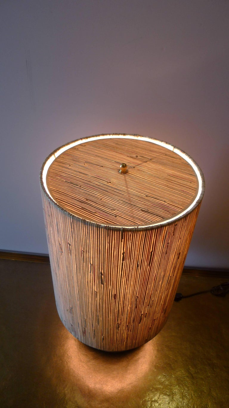 Modern Brass Table Lamp with Custom Grasscloth Shade by Paul Marra 2