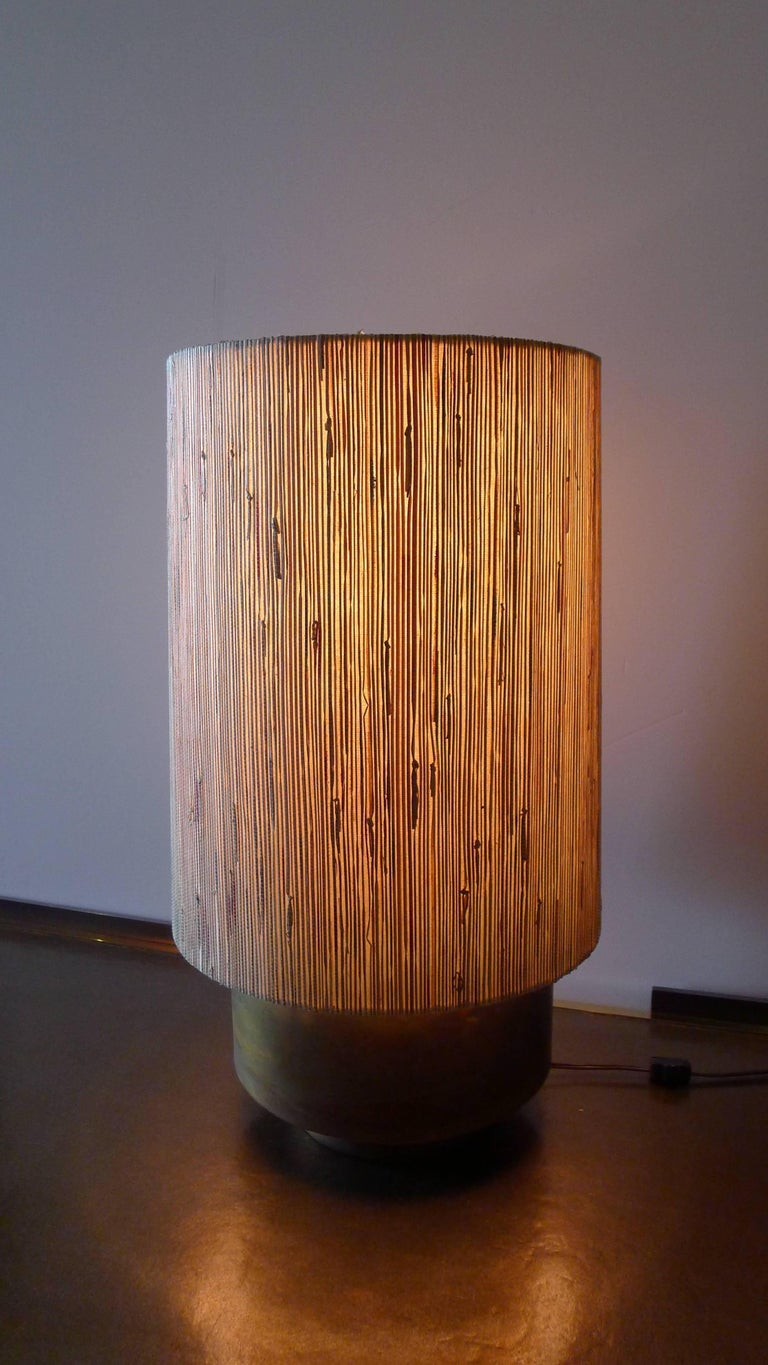 Modern Brass Table Lamp with Custom Grasscloth Shade by Paul Marra 3