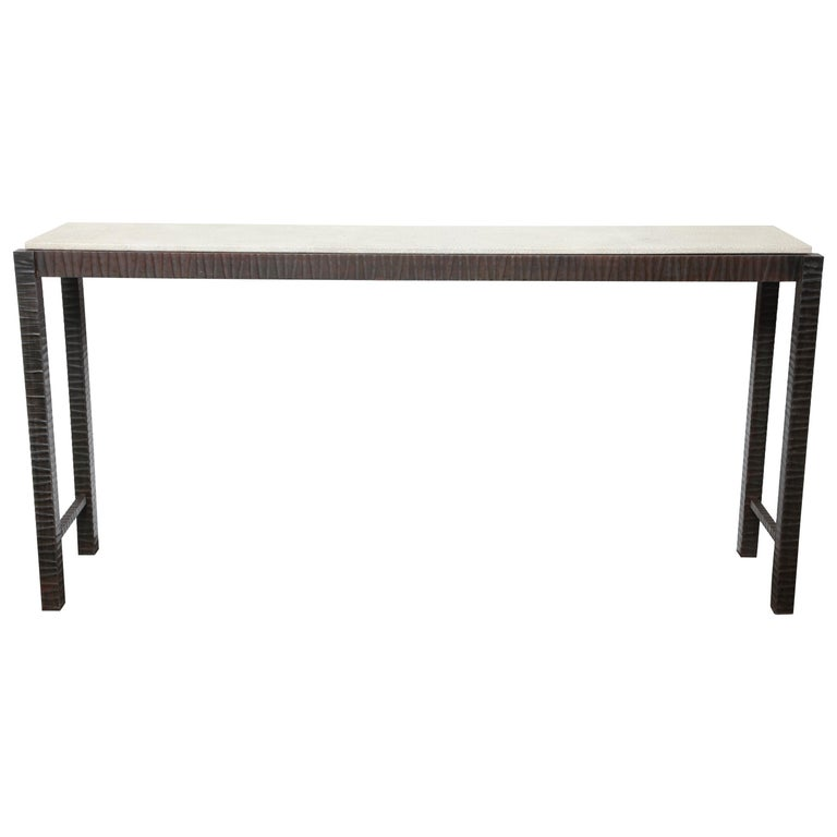 Embossed Edelman Leather Shagreen Console For Sale