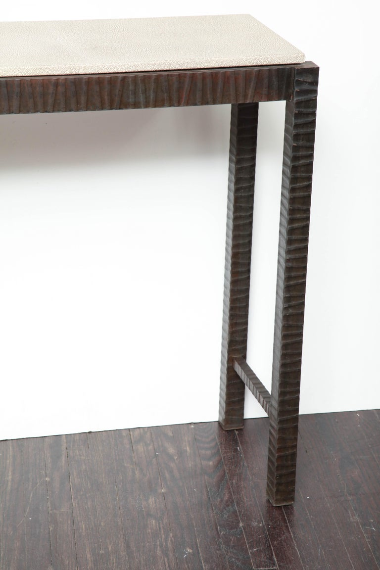 Mid-Century Modern Embossed Edelman Leather Shagreen Console For Sale
