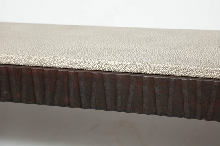 Cut Steel Embossed Edelman Leather Shagreen Console For Sale