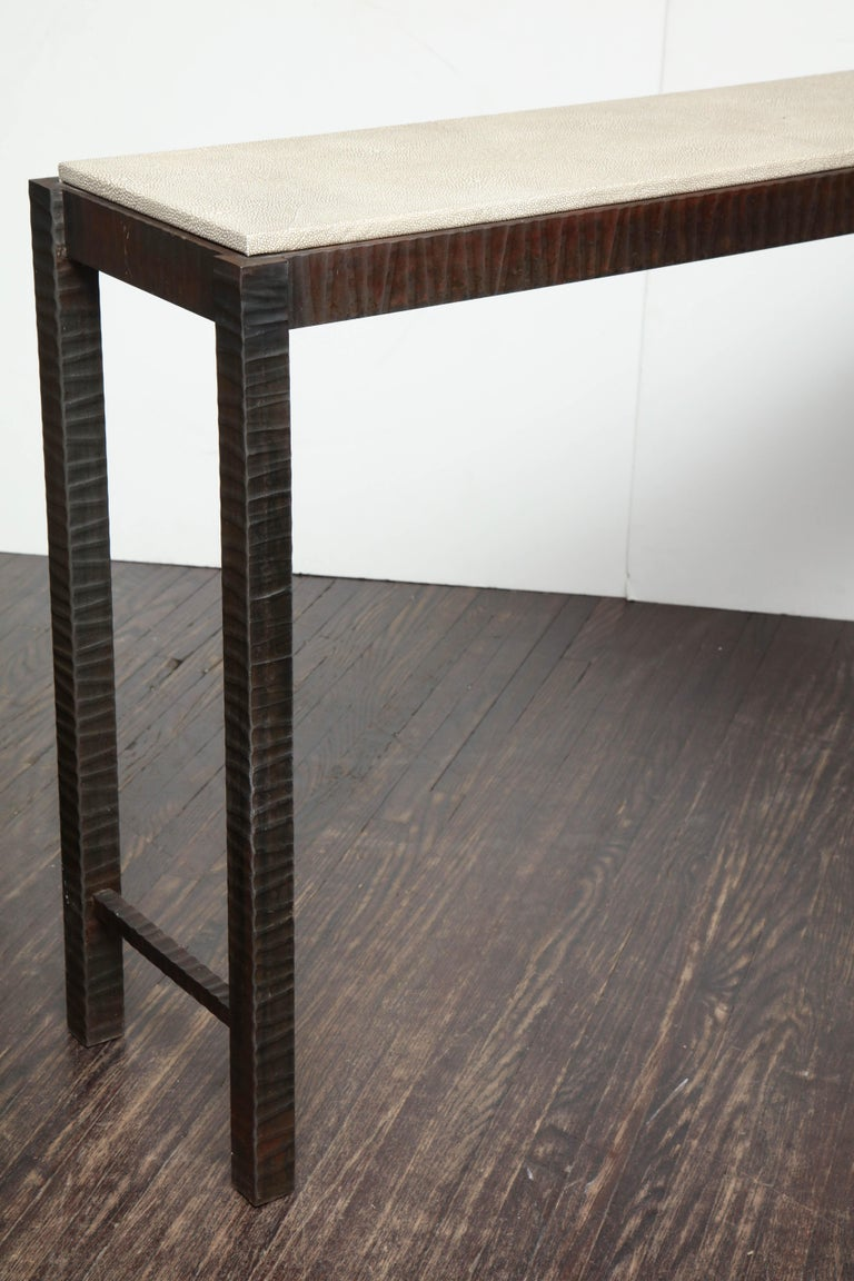 Embossed Edelman Leather Shagreen Console For Sale 3