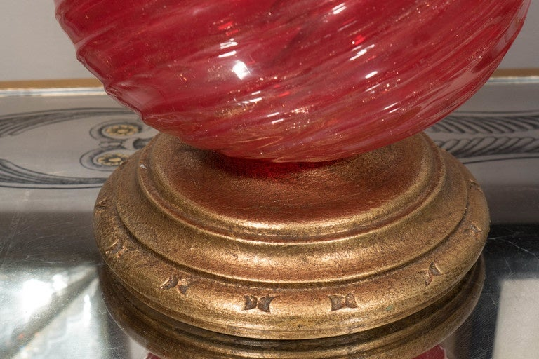 Italian Single Vintage Red Murano Glass Lamp For Sale
