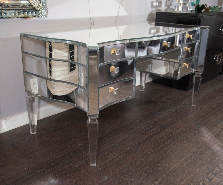 Glamorous Transparent Mirrored Writing Desk For Sale At