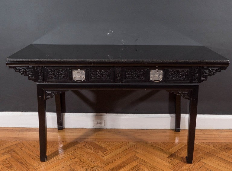 19th Century Black Lacquer Chinese Alter Table 2