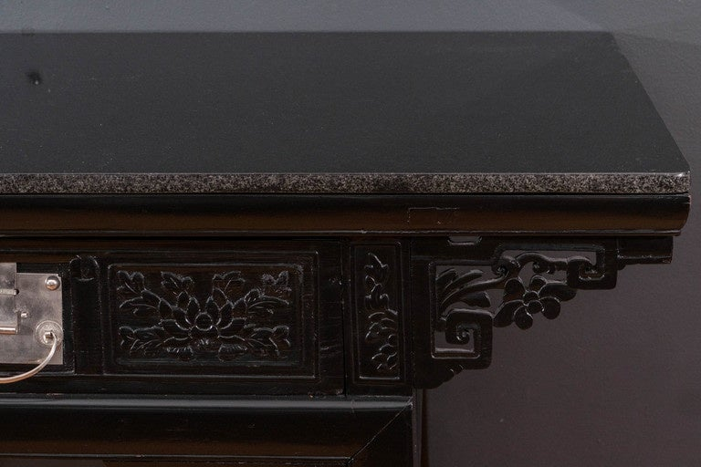 19th Century Black Lacquer Chinese Alter Table 3