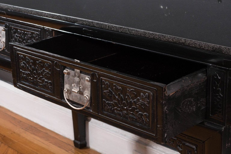 19th Century Black Lacquer Chinese Alter Table 7