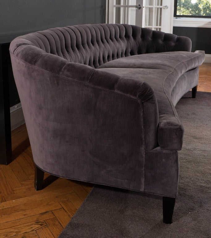 hollywood regency tufted sofa at 1stdibs. Black Bedroom Furniture Sets. Home Design Ideas