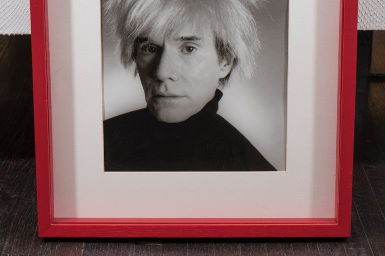 Mid-Century Modern Vintage Christopher Makos Photo of Andy Warhol in Red Shadowbox Frame For Sale