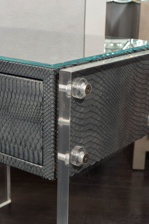 American Pair of Gunmetal Gray Python Nightstands with Lucite Side Panels For Sale