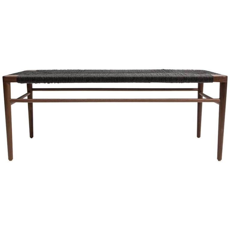 Walnut and Black Rush Bench by Smilow Furniture
