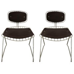 Pair of Wire and Leather Beauborg Stacking Chairs for the Pompidou Centre