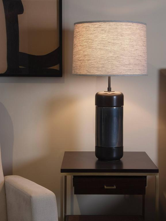 American Stone and Sawyer Walnut and Ceramic Table Lamp For Sale