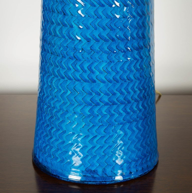 Danish Nils Kähler Blue Ceramic Table Lamp For Sale