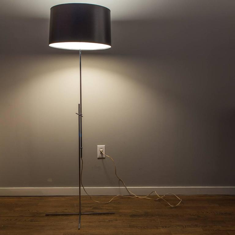 Streamlined Square Chrome Floor Lamp With Black Shade At