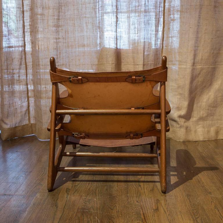 Danish Pair Of Børge Mogensen U0027Hunting Chairsu0027 In Oak And Patinated Butt  Leather For