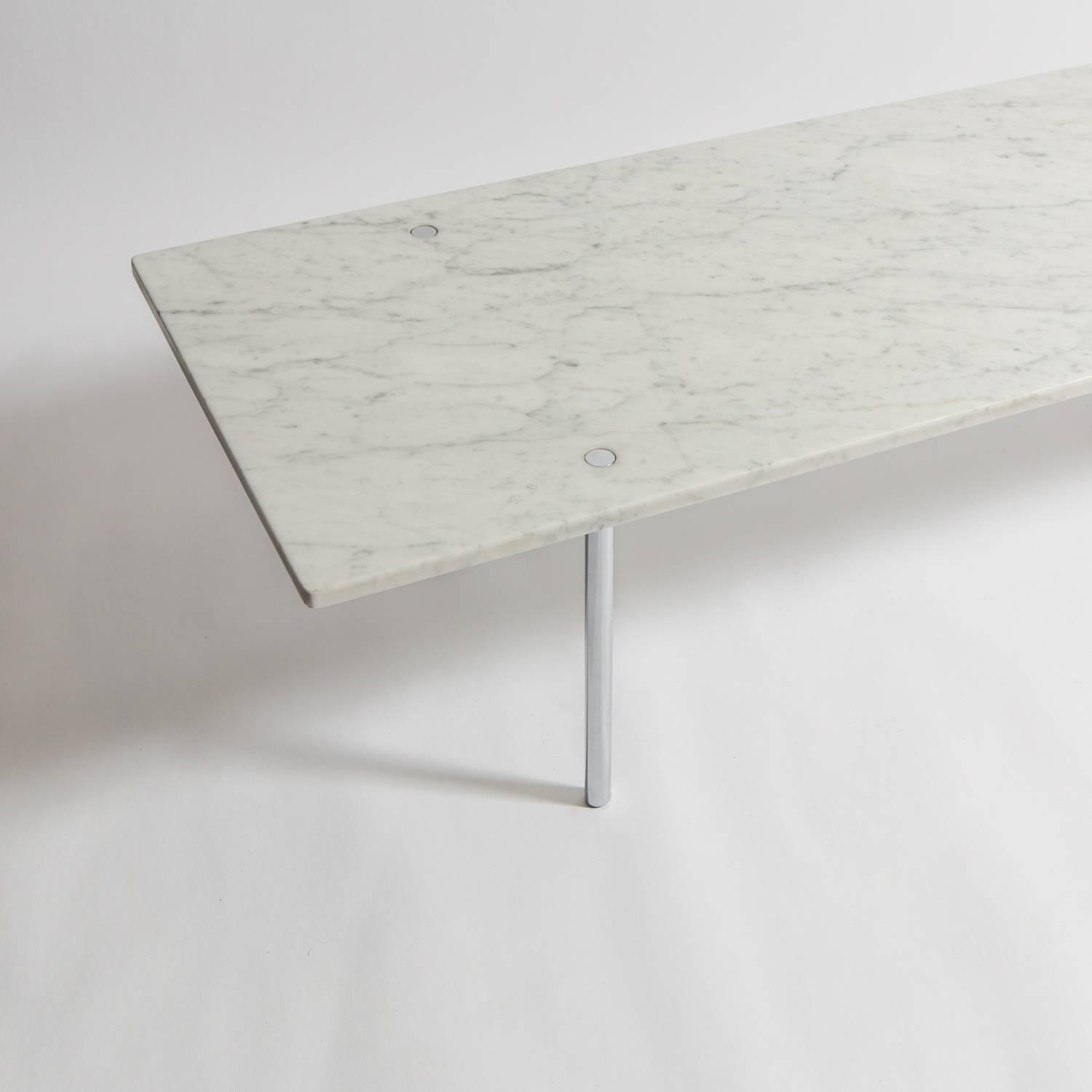 Carrara Marble And Chrome Coffee Table By Estelle And Erwine Laverne