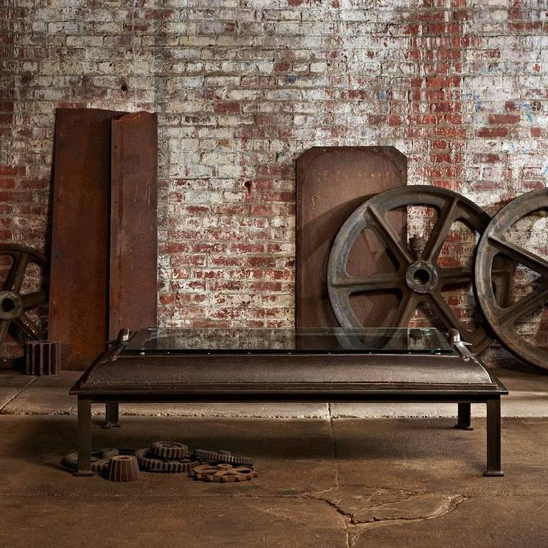Old Door Coffee Tables For Sale: Cast Iron, Industrial Coffee Table Made From An Old Boiler