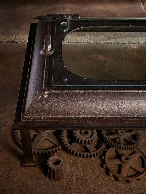 Cast Iron, Industrial Coffee Table Made from an Old Boiler Room Door ...