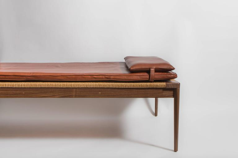 Leather Rush and Walnut Daybed by Smilow Furniture For Sale