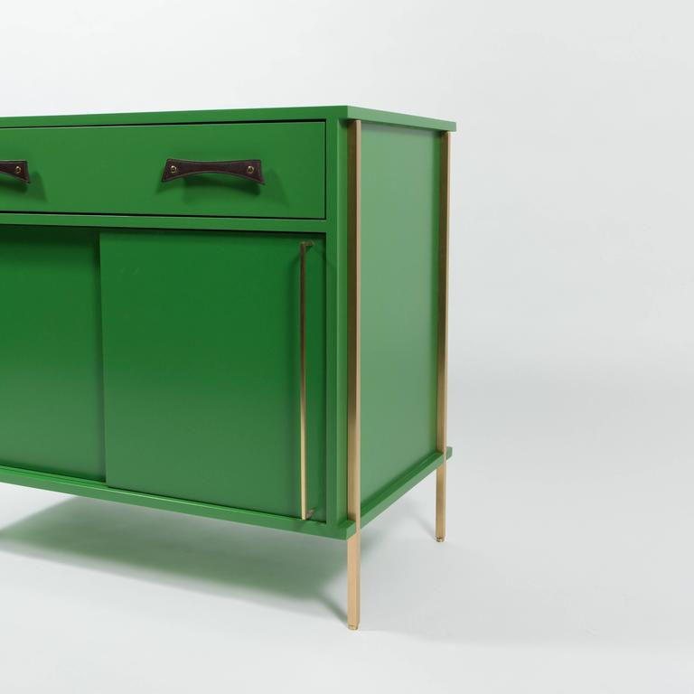 Made To Order Sliding Door Cabinet With Drawer In RAL Grass Green Lacquer.  Handmade Leather