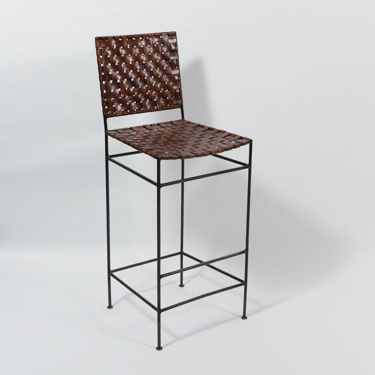 Set Of Four Iron And Leather Bar Stools At 1stdibs