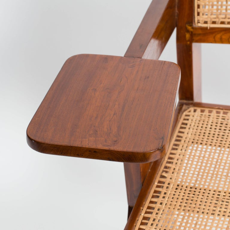 Cane Desk Chair by Pierre Jeanneret for Punjab University For Sale