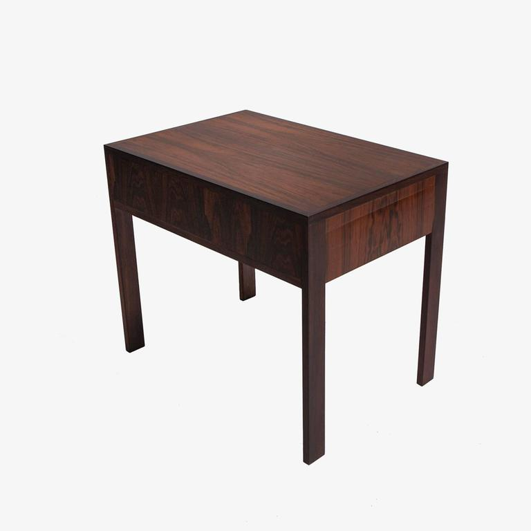 Danish Set of Three Rosewood Tables Stored in Side Table, Illum Wikkelso Silkborg For Sale