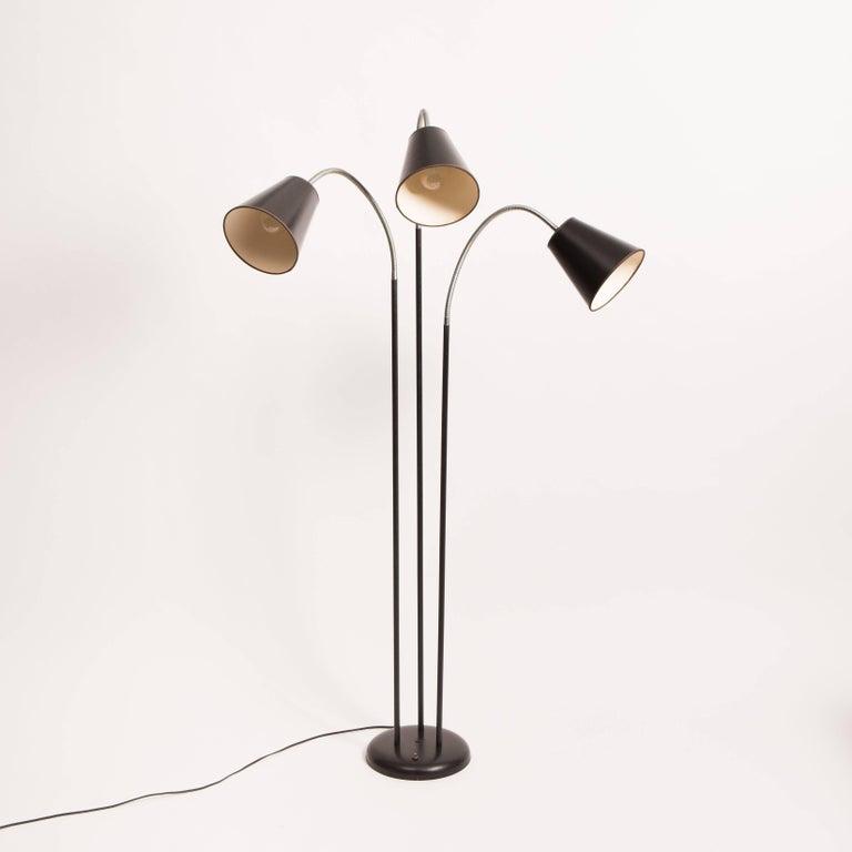 Three arm gooseneck floor lamp by david wurster for raymor for Multiple gooseneck floor lamp