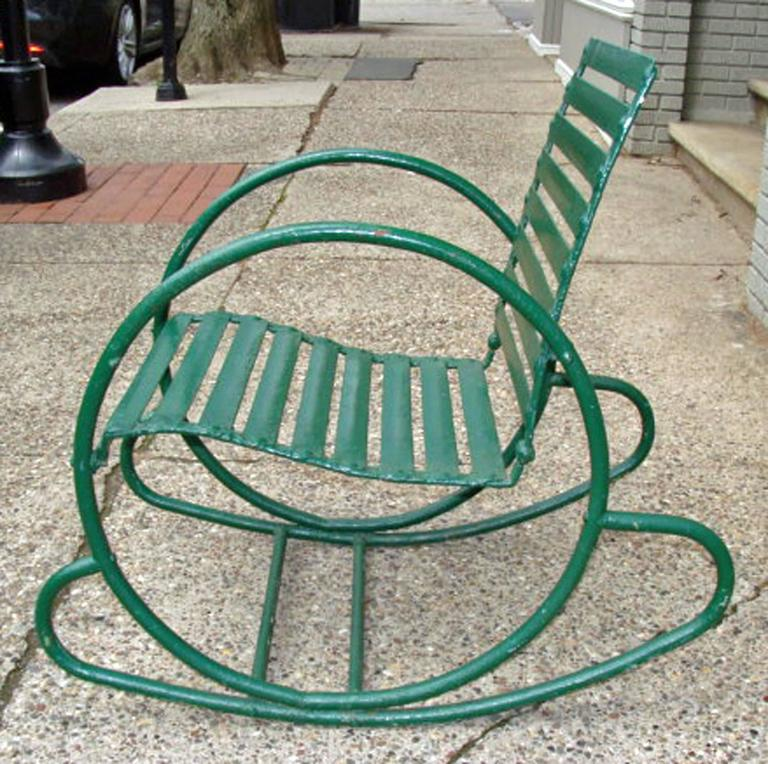 Hard-to-find authentic American Art Deco chair. Recent green paint over  previous - Art Deco Vintage Lawn/Garden Rocking Chair At 1stdibs