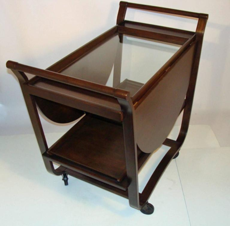 Authentic vintage Wormley cart with bentwood frame and glass top, circa 1950. All original parts and